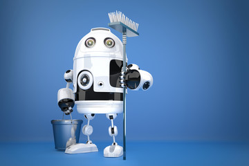 Robot Cleaner. Technology concept. Contains clipping path