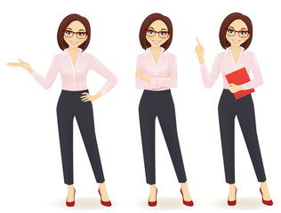 Elegant business woman in different poses
