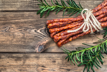 Dried kabanos sausage - traditional thin sausage in polish cuisine