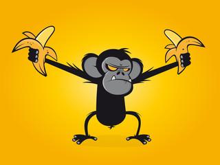 affe wütend banane