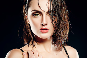 girl brunette model with wet hair