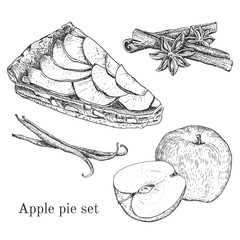 Ink apple pie set with apples, cinnamon, vanilla