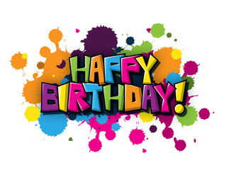 HAPPY BIRTHDAY Vector Graffiti Letters Card