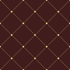 Geometric repeating vector ornament with diagonal golden dotted lines. Seamless abstract modern pattern