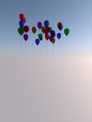 Several flying colored balloons