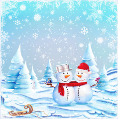 An illustration featuring a snowman and snow woman hugging in  snow