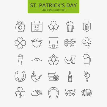 Line Happy Saint Patrick Day Icons Big Set