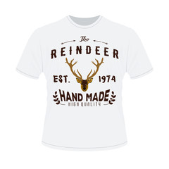 White t-shirt with print of Authentic hipster logotype with rein