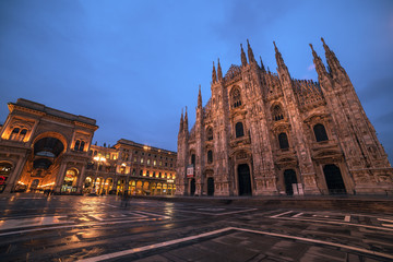 Fototapete - Milan, Italy: Piazza del Duomo, Cathedral Square