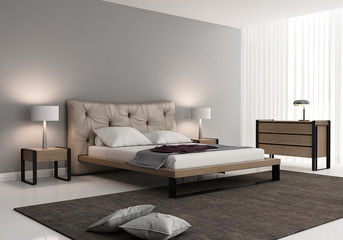 Grey bedroom with a leather tufted bed