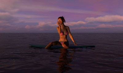 Surfer Girl At Sunset or Sunrise With Mobile Phone