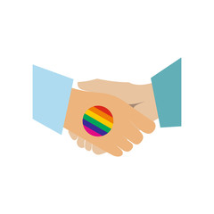 Handshake gay rainbow flat icon