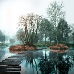 In de dag Bestsellers Autumn vintage landscape with old woods and lake