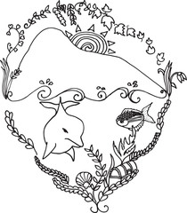 Adult colouring vector image inspired by the Rock of Gibraltar and its dolphin