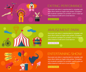 Circus performance, entertainment, amusement show compositions with circus icons. Flat style design.
