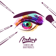 Vector watercolor hand drawn illustration of colorful womens eye