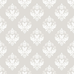 Oriental vector classic beige and white ornament. Seamless abstract background