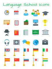 Language courses flat education vector icons. International communication in different languages. Foreign languages website design elements. Planning, cost, equipment for individual and group lessons