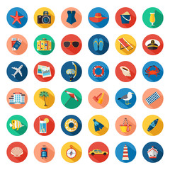 Set of colorful summer vacation, beach, seaside marine icons with long shadows. Flat style design.