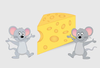 Cartoon mice with cheese