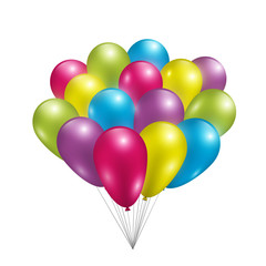 Set of colorful shiny balloons. Vector illustration.