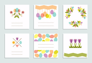 Set of creative Easter pastel cards.