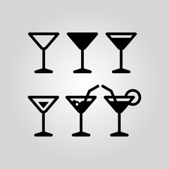 Cocktail glass icon set suitable for info graphics, websites and print media. Black flat line icons