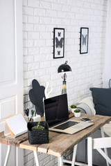 Modern monochrome workplace on light background
