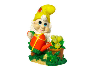 Figurine gnome with a watering can to water the flowers. Isolate