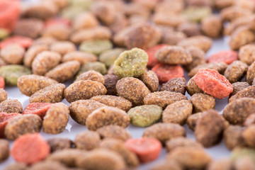 Background of mixed dry cat food