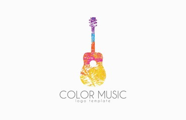 Guitar. Colorful logo. Rainbow guitar. music logo. Creative logo