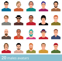 Large set of avatars attractive man on a white background vector