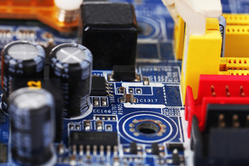 Electronic circuit board close up