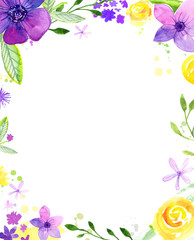 Watercolor Floral Frame With Copy Space Hand Painted Loose Flowers Background For Wedding And