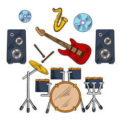 Musical band instruments sketched icons