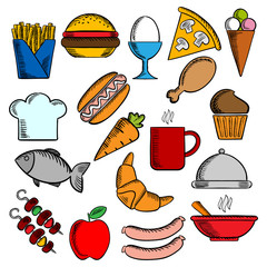Food, snacks and dessert icons