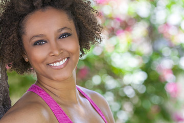 Happy African American Woman Smiling Outside