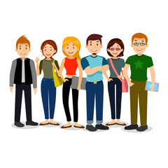 Set of diverse college or university students. Vector group of students. Cartoon illustration of students.