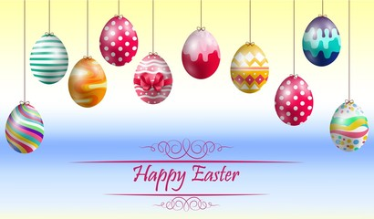 Easter eggs on yellow blue background