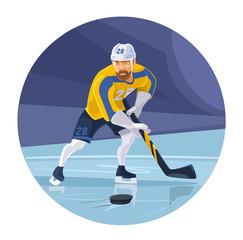Hockey player. Vector flat illustration