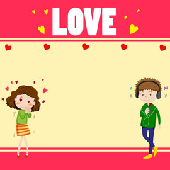 Border design with lovers