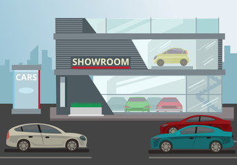 Car Showroom. Vector flat illustration