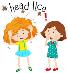 Little girl having head lice