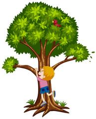 Little boy climbing up the tree