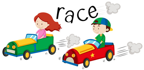 Boy and girl racing car