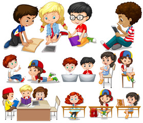Children reading and learning