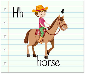 Flashcard letter H is for horse
