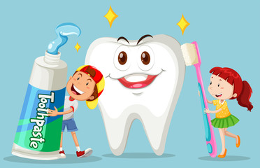 Boy and girl with clean tooth