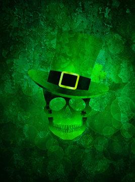 St Patricks Day Skull Grunge Background