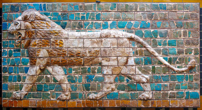 Lion on Babylonian mosaic